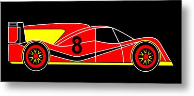 Red Number 8 Racing Car Virtual Car Metal Print by Asbjorn Lonvig
