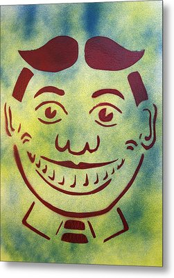 Red On Yellow And Blue Tillie Metal Print by Patricia Arroyo