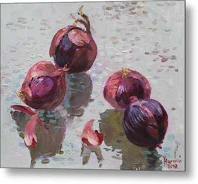 Red Onions Metal Print by Ylli Haruni