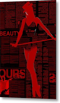 Red Paper Dance Metal Print by Naxart Studio