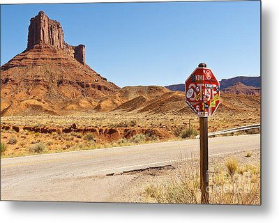 Red Rock Stop Metal Print by Bob and Nancy Kendrick