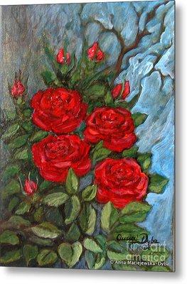 Red Roses In Old Garden Metal Print by Anna Folkartanna Maciejewska-Dyba