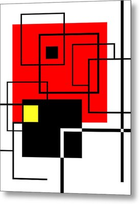 Red Square A La Mondrian Metal Print by Ginny Schmidt