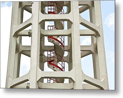 Red Stairway Metal Print by Gerard Hermand