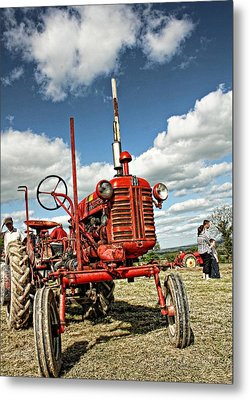 Red Tractor Metal Print by Julie Williams