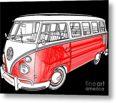Red Volkswagen Metal Print by Cheryl Young