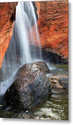 Red Waterfall Metal Print by Carlos Caetano