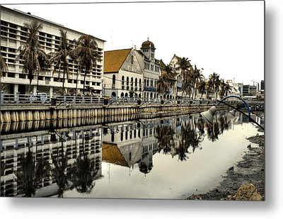 Reflection Of Old Buildings Metal Print by Aris and Ressy