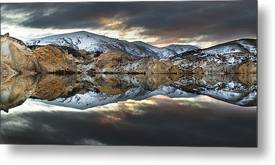 Reflections Of Cliffs On Blue Lake St Bathans Metal Print by Colin Monteath