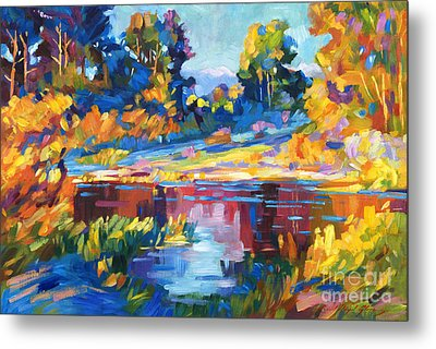 Reflections On A Quiet Lake Metal Print by David Lloyd Glover