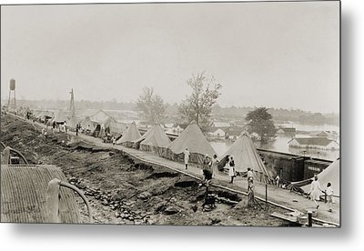 Refugees At A Tent City On The Levee Metal Print by Everett