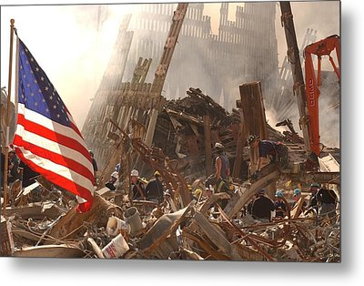 Rescue Workers Climb Over And Dig Metal Print by Everett