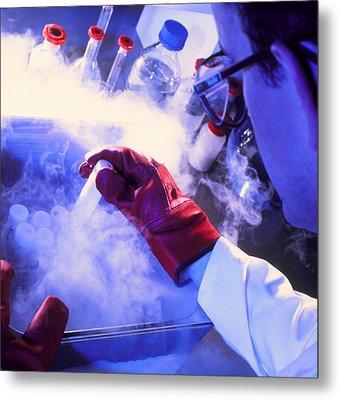 Researcher Removing Sample Tube From Cryostorage Metal Print by Tek Image