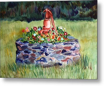 Retired Water Pump Metal Print by Donna Walsh
