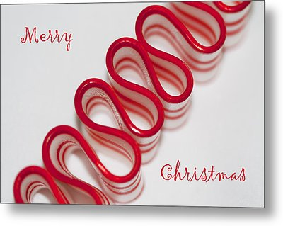 Ribbon Candy Peppermint Merry Christmas Metal Print by Kathy Clark