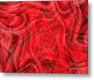 Ribbons Of Red Abstract Metal Print by Carol Groenen