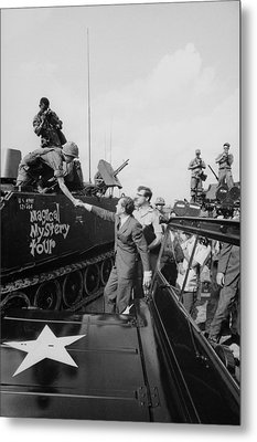 Richard Nixon Shaking Hands With Armed Metal Print by Everett