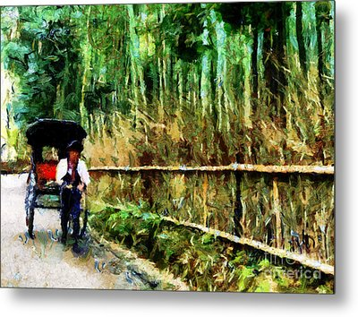 Rickshaw In A Bamboo Forest Metal Print by Cathleen Cawood