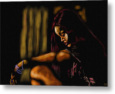 Rihanna Metal Print by Anthony Crudup