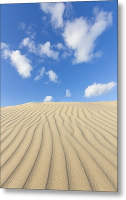 Rippled Sand Dune And Blue Sky With Clouds Metal Print by Rob Kints