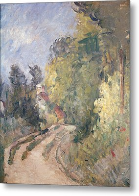 Road Turning Under Trees Metal Print by Paul Cezanne