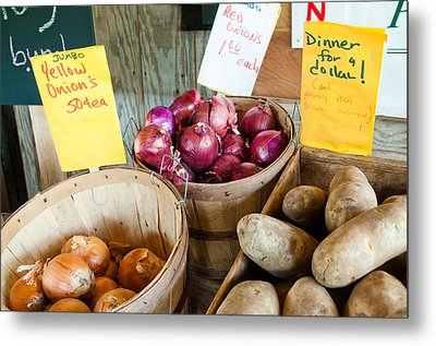 Roadside Produce Stand Onions And Potatoes Metal Print by Denise Lett