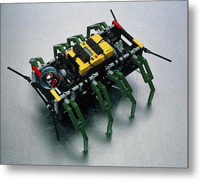 Robot Spider Constructed From Lego Metal Print by Volker Steger