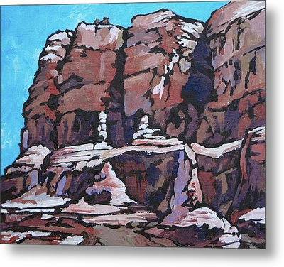 Rock Face Metal Print by Sandy Tracey