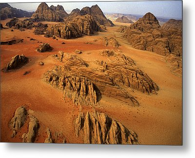 Rock Formations And Sand Near Petra Metal Print by Annie Griffiths