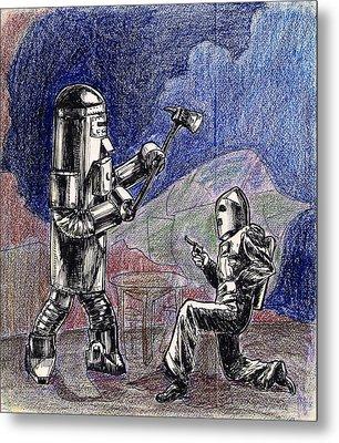 Rocket Man And Robot Metal Print by Mel Thompson