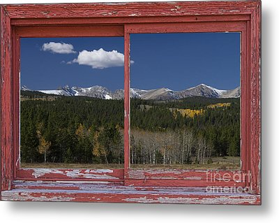 Rocky Mountain Autumn Red Rustic Picture Window Frame Photos Art Metal Print by James BO  Insogna