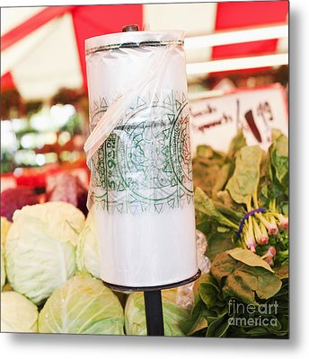 Roll Of Plastic Produce Bags In A Market Metal Print by Jetta Productions, Inc