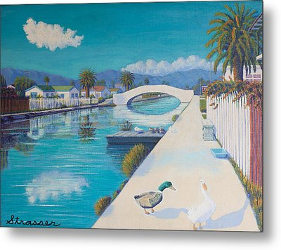 Romance On Retro Canal Metal Print by Frank Strasser