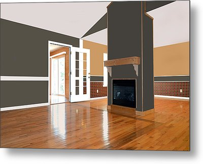 Room With Fireplace Metal Print by Susan Leggett