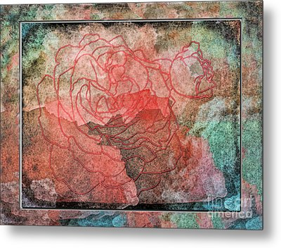 Rose Outline Abstract Metal Print by Debbie Portwood