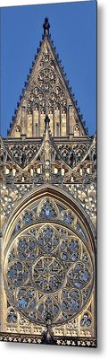 Rose Window - Exterior Of St Vitus Cathedral Prague Castle Metal Print by Christine Till