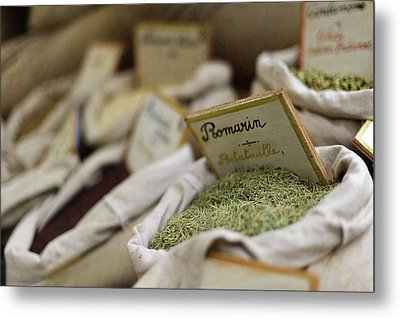 Rosemary And Provencal Herbs In Farmers Market Metal Print by Alexandre Fundone