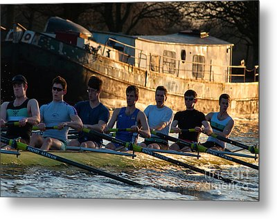 Rowers At Sunset Metal Print by Andrew  Michael