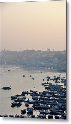 Rowing Boats On Ganges River Metal Print by Jessica Solomatenko