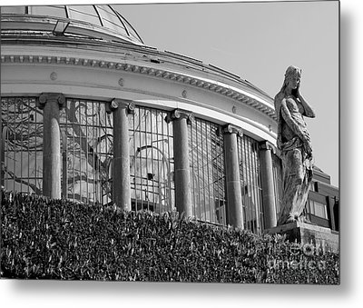 Royal Conservatory In Brussels - Black And White Metal Print by Carol Groenen