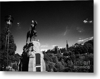 Royal Scots Greys Boer War Monument In Princes Street Gardens Edinburgh Scotland Uk United Kingdom Metal Print by Joe Fox