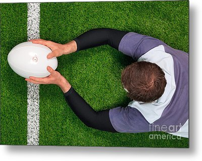 Rugby Player Scoring A Try With Both Hands. Metal Print by Richard Thomas