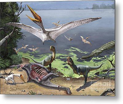 Rugops Primus Dinosaurs And Alanqa Metal Print by Sergey Krasovskiy