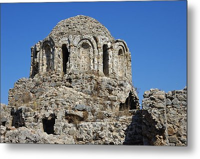 Ruins Of Byzantine Basilica Alanya Castle Turkey Metal Print by Matthias Hauser