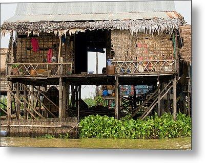 Rural Fishermen Houses In Cambodia Metal Print by Artur Bogacki
