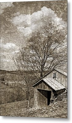 Rustic Hillside Barn Metal Print by John Stephens