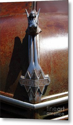 Rusty Old 1935 International Truck Hood Ornament. 7d15502 Metal Print by Wingsdomain Art and Photography