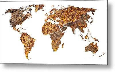 Rusty World Map Metal Print by Tony Cordoza