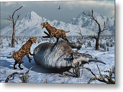 Sabre-toothed Tigers Battle Metal Print by Mark Stevenson