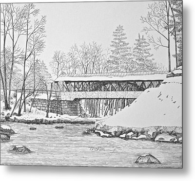 Saco River Bridge Metal Print by Tim Murray